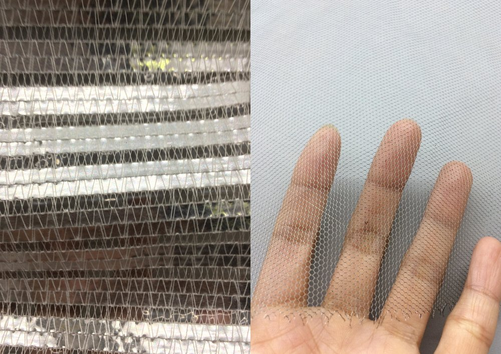 LEFT: High density polyethylene (HDPE) monofilaments + aluminium. Reflective, weather-resistant and flame retardant screens.  RIGHT: Lightweight bobbinet tulle fabric composed of 91% polyamide (PA 6.6) and pure silver (9%). Tear resistant, electro-magnetic shielding. Used in technical shielding and flexible electronics.