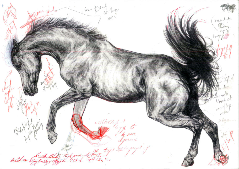 Study of a Lunging Stallion. 2018. Pencil on Watercolour Paper (30 x 42cm) AVAILABLE