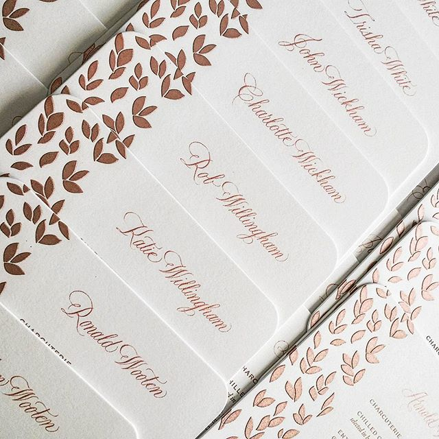 Rose gold ink to match special menus. I love when menus double as place cards.  #weddingstationery #wedding #arzberger