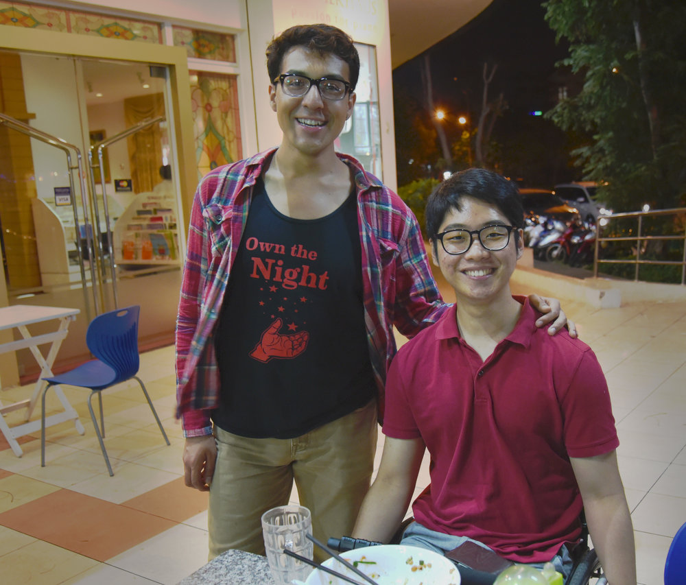 Director Samuel R. Mendez (left) and producer Kunho Kim (right) on location in Ho Chi Minh City during the filming of 10 Days in Saigon.