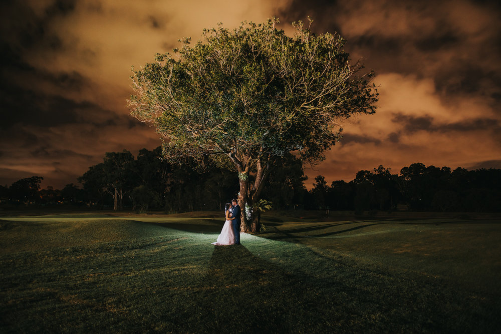 Avenue Sixty Four Wedding Night Portrait on Wynnum Golf Course Lightsmith Images Brisbane Wedding Photographer