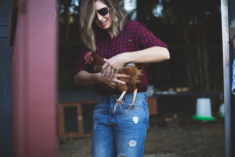 Me - full-time photographer, part-time hen wrangler