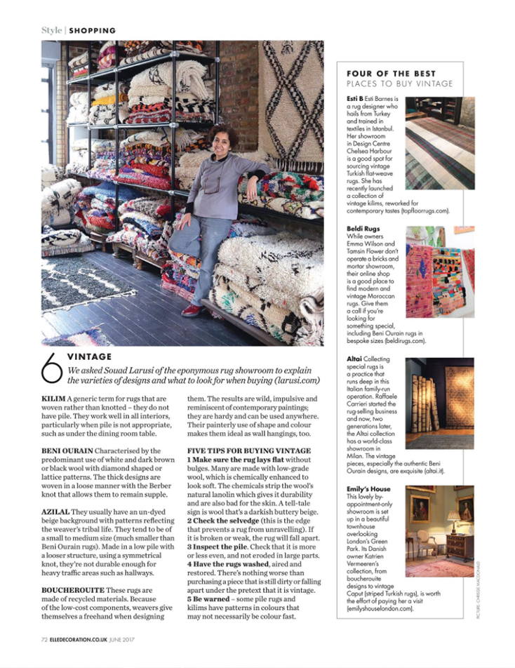 ELLE Decoration (June 2017): 4 of the Best Places to Buy Vintage Moroccan Rugs