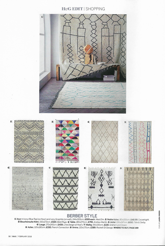 Homes & Gardens (February 2018) Boucherouite Kilim 221