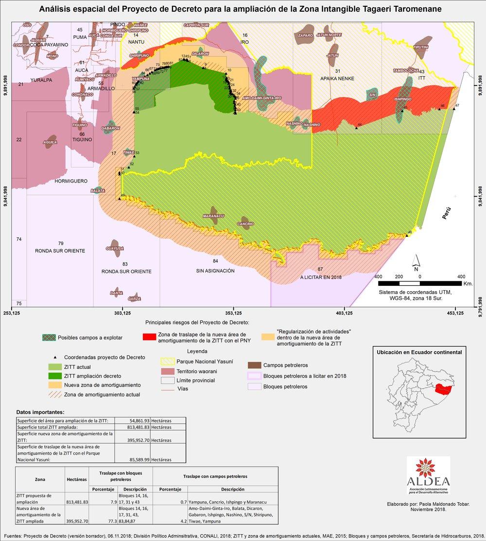 Mapa con los principales riesgos del Decreto: Nuevos campos para la ampliación de la explotación petrolera, manejo regulado por el plan de manejo del parque y área con regularización de actividades. Elaboración: Fundación ALDEA.