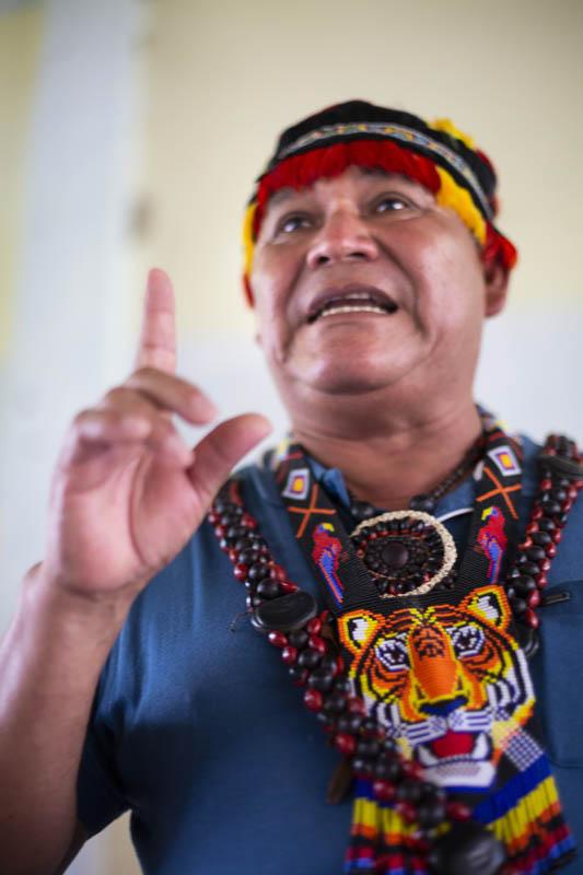 Wrays Pérez,  Pámuk  (presidente) del Gobierno Territorial Autónomo de la Nación Wampís (GTANW).