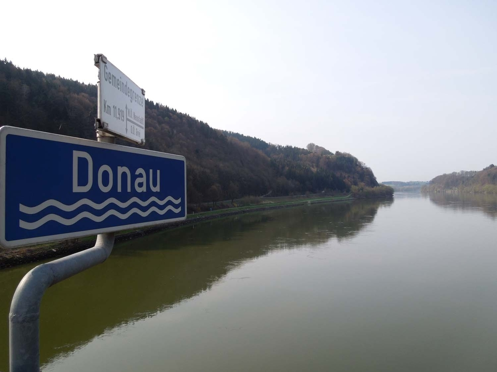 Crossing a bridge across the Danube