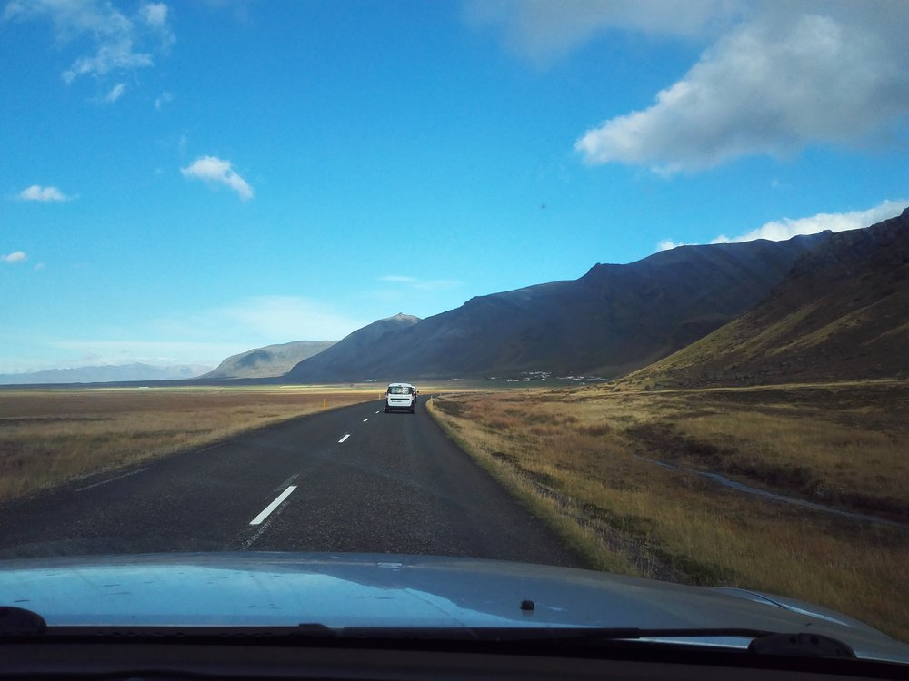 Driving along R1, Iceland