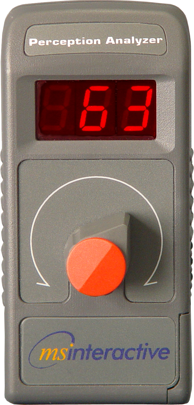 A hand-held wireless dial used to capture continuous feedback moment-to-moment.