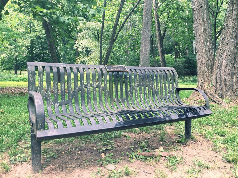 We donate benches to local parks.  You can find this one in our own West Mill Creek Park.  Another is at the General Wayne Park playground.