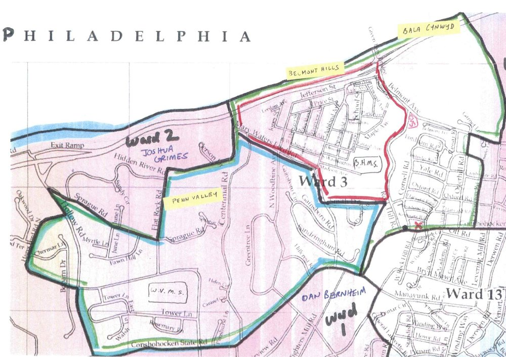 Ward boundaries can get confusing!  This map helps clarify Ward 3 boundaries.  Penn Valley encompasses parts of 3 different wards, Wards 1, 2 and 3.  Each ward has a different commissioner.  There are 14 wards in total in Lower Merion Township.