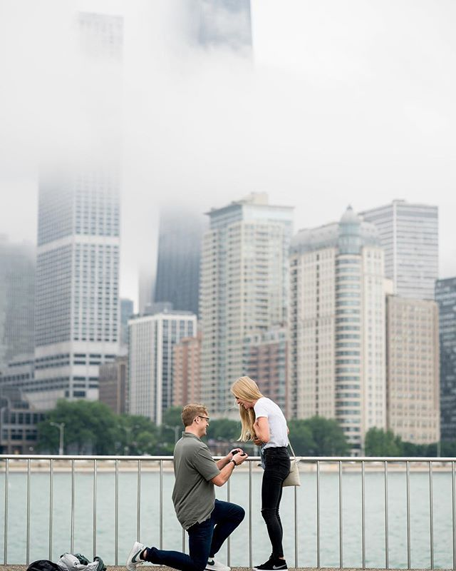 Austin called me a few weeks back with grand plans. ⠀ ✈️⠀ He was coming in from his hometown of Atlanta to Chicago for work, and his girlfriend, Sidney, was going to join him for her first visit to our beautiful city. What better time to pop the question, right?⠀ 💍⠀ Except Chicago has had some pretty extreme mood swings this summer-105 one day and pouring rain and 67 the next. Austin and Sidney were scheduled to be here right in the middle of one of those torrential downpours. ⠀ ☔️⠀ But Austin, being the incredibly thoughtful and flexible person he is, spent hours corresponding with me to come up with the perfect plan. ⠀ 🙌🏻⠀ And the perfect plan it was. The whole thing went down without a single hiccup, and Sidney's reaction was sheer shock, utter disbelief, and pure elation all at once. It was absolutely adorable and I am so honored to have been able to capture it. ⠀ 📸