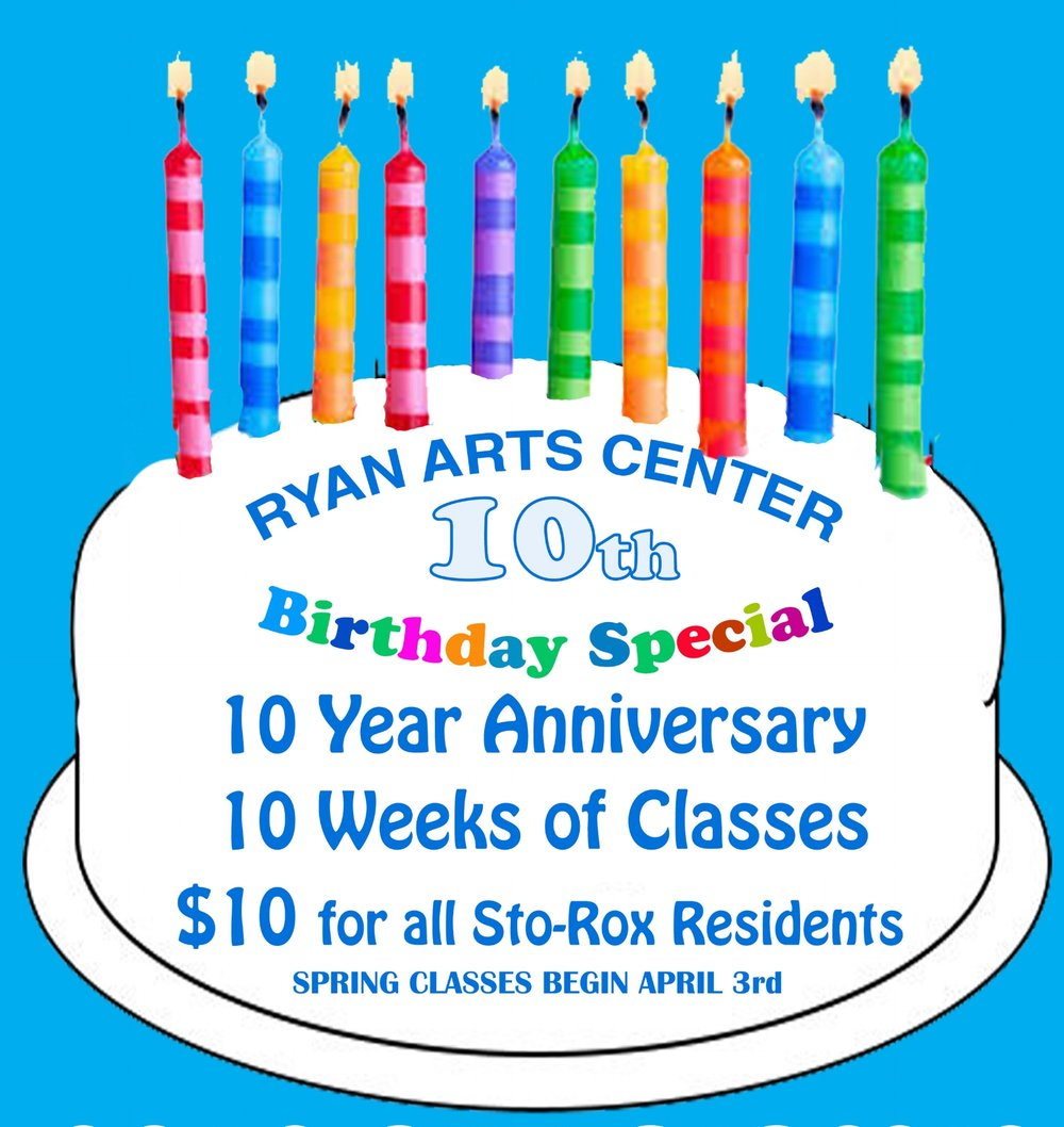 10 Year Anniversary Special  - To celebrate our 10th Anniversary we are offering all Sto-Rox & 15136 Residents classes for only $10. Register for any Dance, Tai chi, Drawing, Fashion class for only $10. 10 classes $10!We know the math doesn't make sense. But we want to celebrate by welcoming residents in to take classes. ALSO EVERY SATURDAY FROM 12 (noon) - 2pm FREE ART WORKSHOPS.