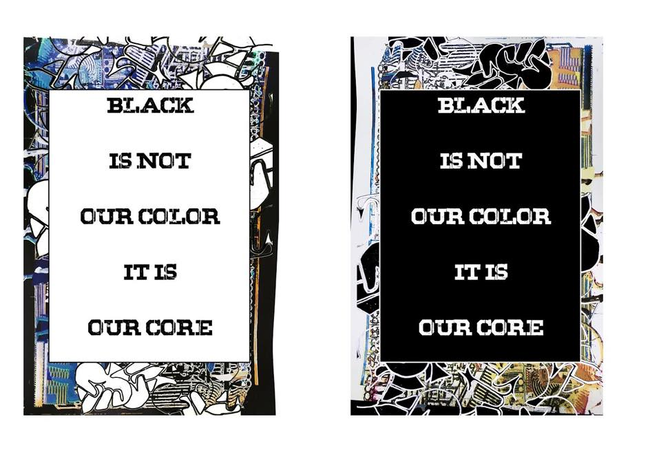 """Our African-American Celebration of the Arts continues with Quaishawn Whitlock's """"Black Is Not Our Color, It Is Our Core,"""" a visual art show at the Ryan Arts Center gallery. Although Quaishawn's artwork will be installed Friday, March 22, the opening celebration and community forum will be held on Friday, March 29 at 6 pm.    Quaishawn, FOR's resident screen printer and instructor; his works are skillful, thought provoking, and a vivid celebration of black American identity. Using historical figures and cultural touchstones, Quaishawn's work will surely catalyze great conversation and meaningful reflection."""