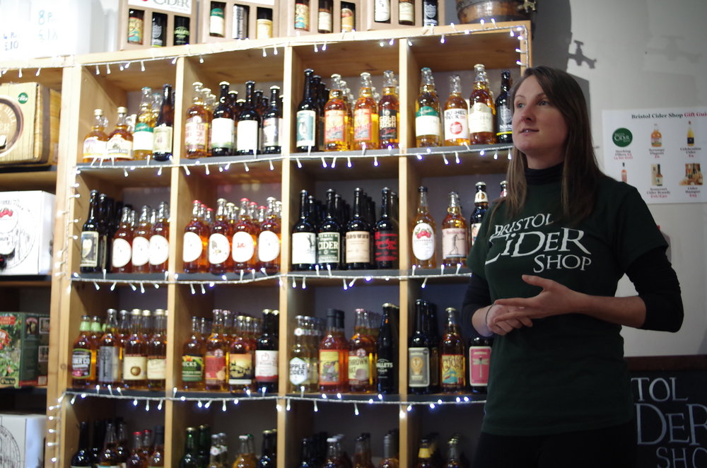 Bristol Cider Shop. Fun fact - they only stock ciders from within 50 miles of Bristol. Question - what if I Made a cider in a weather balloon some miles above the earth? How about then?