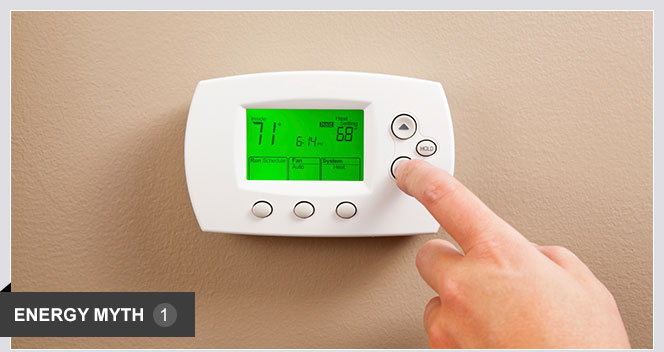 Setting the thermostat higher or lower will heat or cool a room faster. Furnaces and air conditioners work at the same speed, no matter what the thermostat setting. In fact, more energy may be wasted as the system continues to run to reach the further set point.