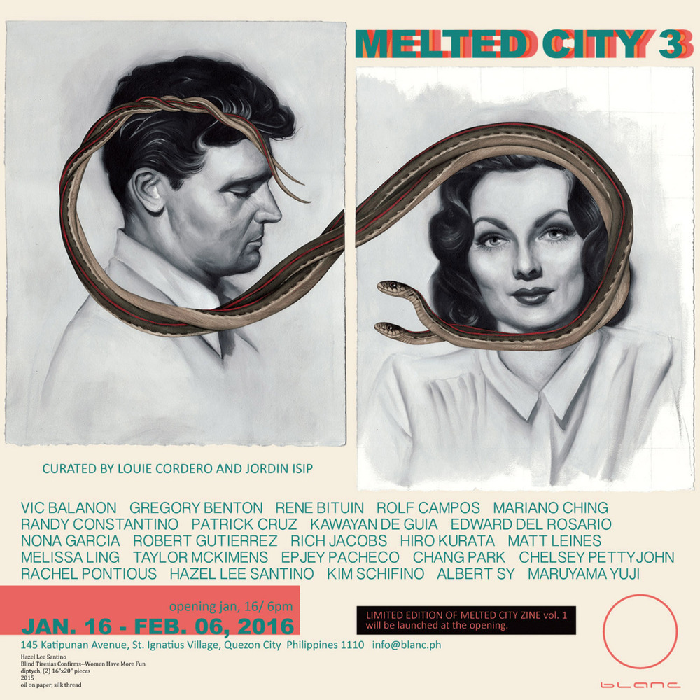 I have new pieces (including the diptych in this show announcement) in Melted City 3, opening next Saturday, January 16th in Quezon City in the Philippines. If you're in the area, stop by! Lots of great artists in the line up:  Vic Balanon Gregory Benton Rene Bituin Rolf Campos  Mariano Ching Randy Constantino Patrick Cruz Kawayan De Guia Edward Del Rosario Nona Garcia Robert Gutierrez Rich Jacobs Hiro Kurata Matt Leines Melissa Ling Taylor McKimens Epjey Pacheco   Chang Park Chelsey Pettyjohn Rachel Pontious  Hazel Lee Santino Kim Schifino  Albert Sy Maruyama Yuji  Opening Reception: January 16, 6 pm  January 16 - February 6, 2016Blanc Gallery145 Katipunan Avenue, St. Ignatius Village, Quezon City, Philippines, 1110   info@blanc.ph