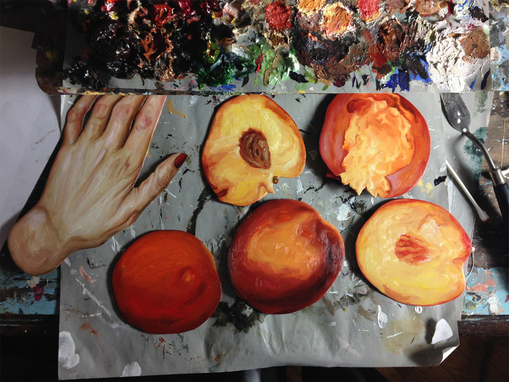 More items for a lusty feast + one of two hands for a little diptych. Oil on birch plywood.