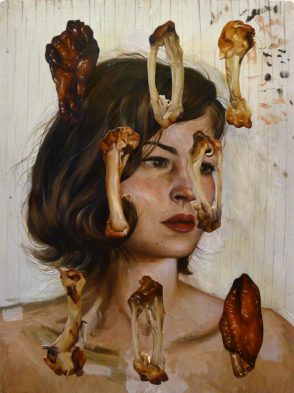 "Chicken Wing Selfie (or, These Wings Were Instrumental in my Break-Up) 2014. Oil on found wood panel, birch plywood, nails, glue, 12.5""x17"". The chicken wings were cut from birch plywood and affixed to the portrait with nails, hovering roughly 1.5"" from the portrait surface."