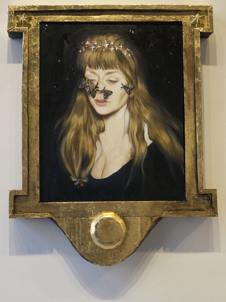 "I Am The Moon . 22""x28"", metal leaf and oil on board and paper, wire, glue, and metal leaf on styrofoam."