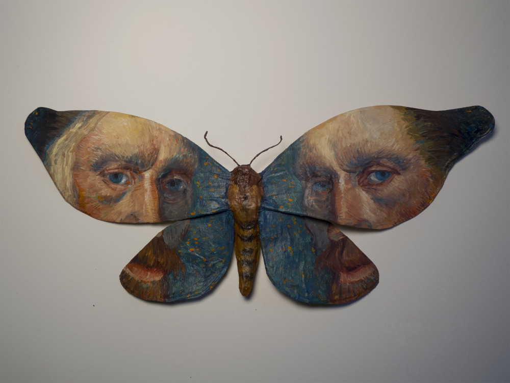 "Moth No. 5/Van Gogh.  9.25""x4"", oil on paper, glue, wire.   More of the new work for the show at Bunnycutlet Gallery, now on view until the 24th."