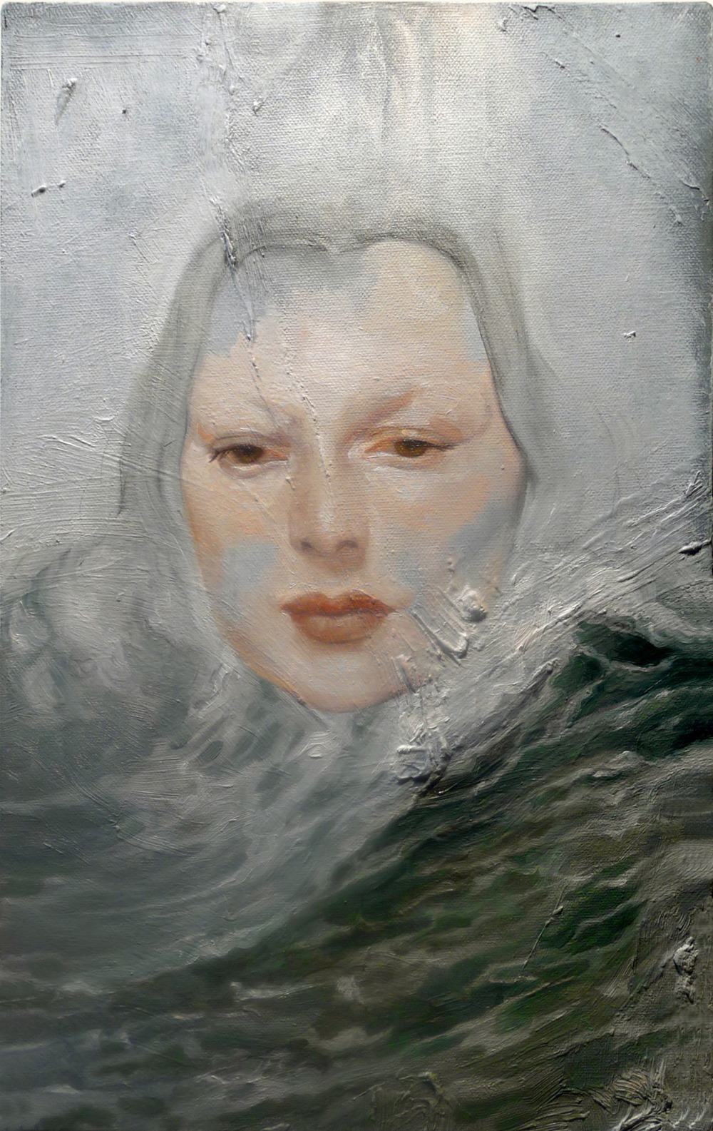 "She the Sea .   10""x16"", oil on a recycled canvas. Paint-doodling."