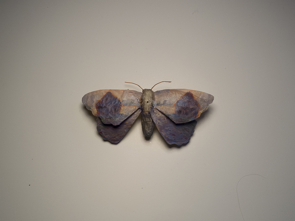 "Moth No. 6/Monet.  4""x2"", oil on paper, glue, wire.   Two more weeks of  Away From The Numbers  at Bunnycutlet Gallery! Check it out!"