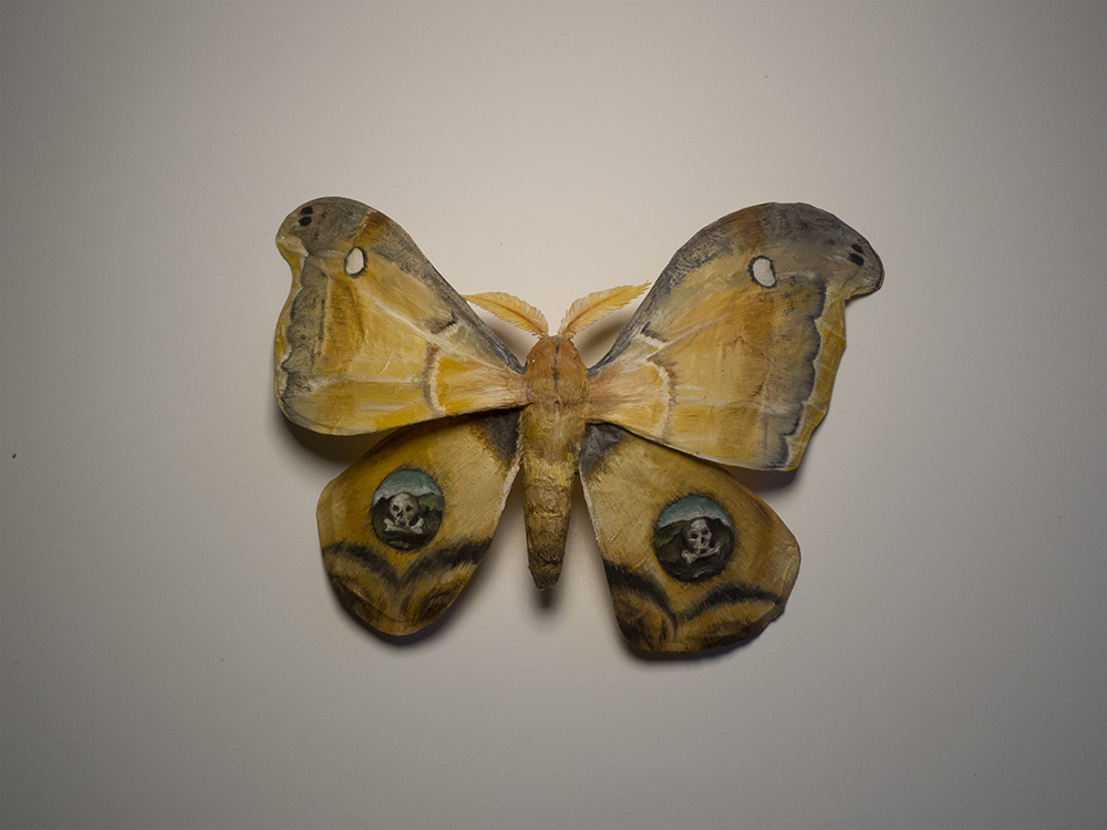 "Moth No. 1/Kahlo.  6""x4"", oil on paper, glue, wire.   New work for the show at Bunnycutlet Gallery, now on view until the 23rd."