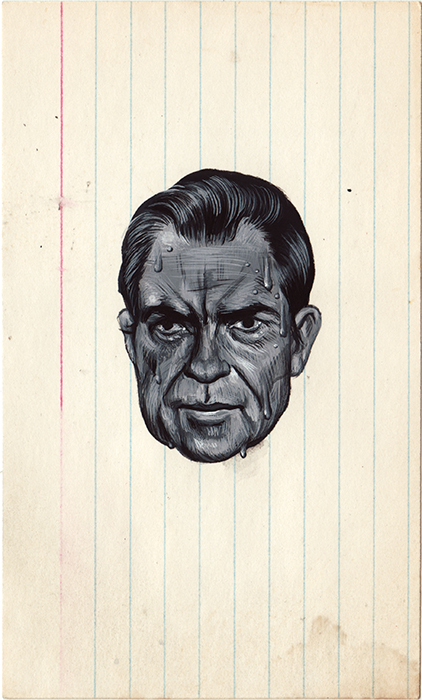 "Sweaty Nixon.  3""x5"".   Quick gouache painting (trying to learn how to use it). I've been obsessing over Nixon's face after seeing my friend Penny's movie  Our Nixon  a few weeks ago.   You can buy it on  Etsy !"