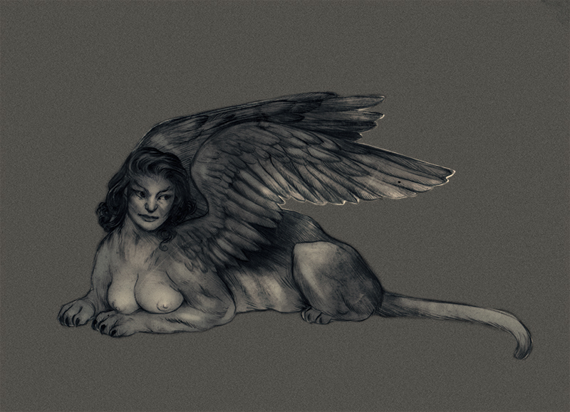 Sphinx , for this week's  Illustration Naked Party.  The theme is mythical creatures.