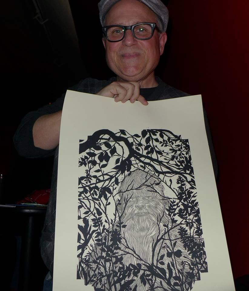 Bobcat Goldthwait's new movie Willow Creek is about Bigfoot, and it's set in my home county. My folks went to a screening last night in Arcata, CA and gave Mr. Goldthwait a copy of my Bigfoot woodblock print!