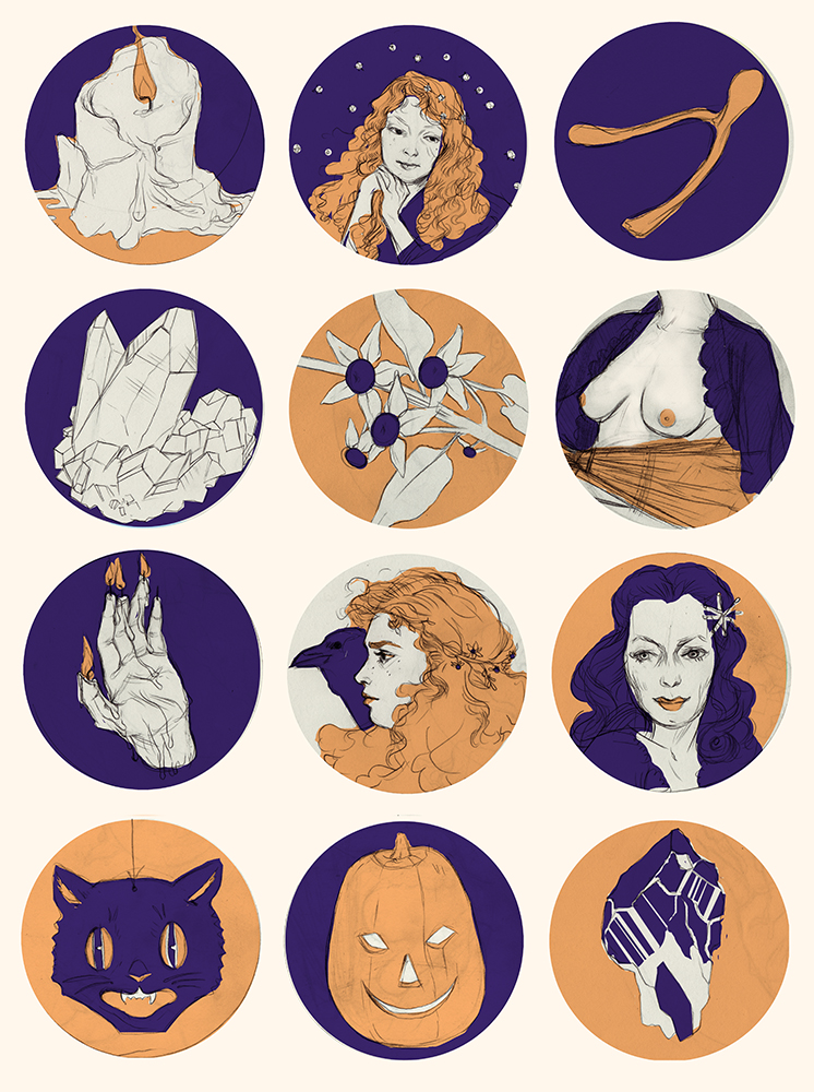 Sketch for a witchy-themed pattern (started for this week's Illustration Naked Party, who knows when I'll get it done). Glamorpusses and Halloween iconography.