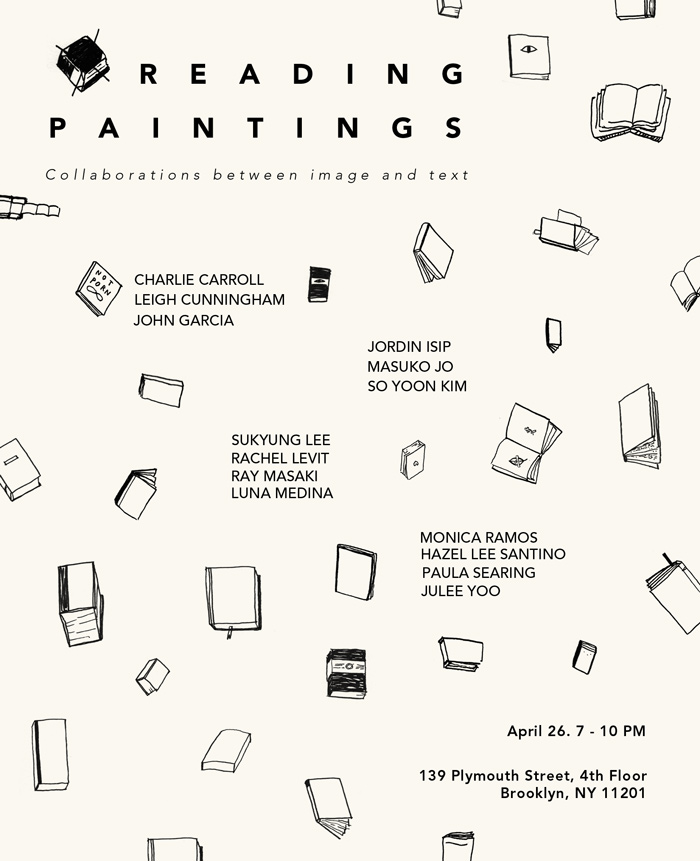 Updated flyer for the show I'm in this Friday, April 26th, at 7 pm! Including dear friends, lots of brand new work. I barely slept this weekend while I was making my 2'x8' (on two 4' panels…as if I have 8'+ of working space in my apartment!) portrait of all the characters turned to stone in Ovid's Metamorphoses. We're installing tomorrow!