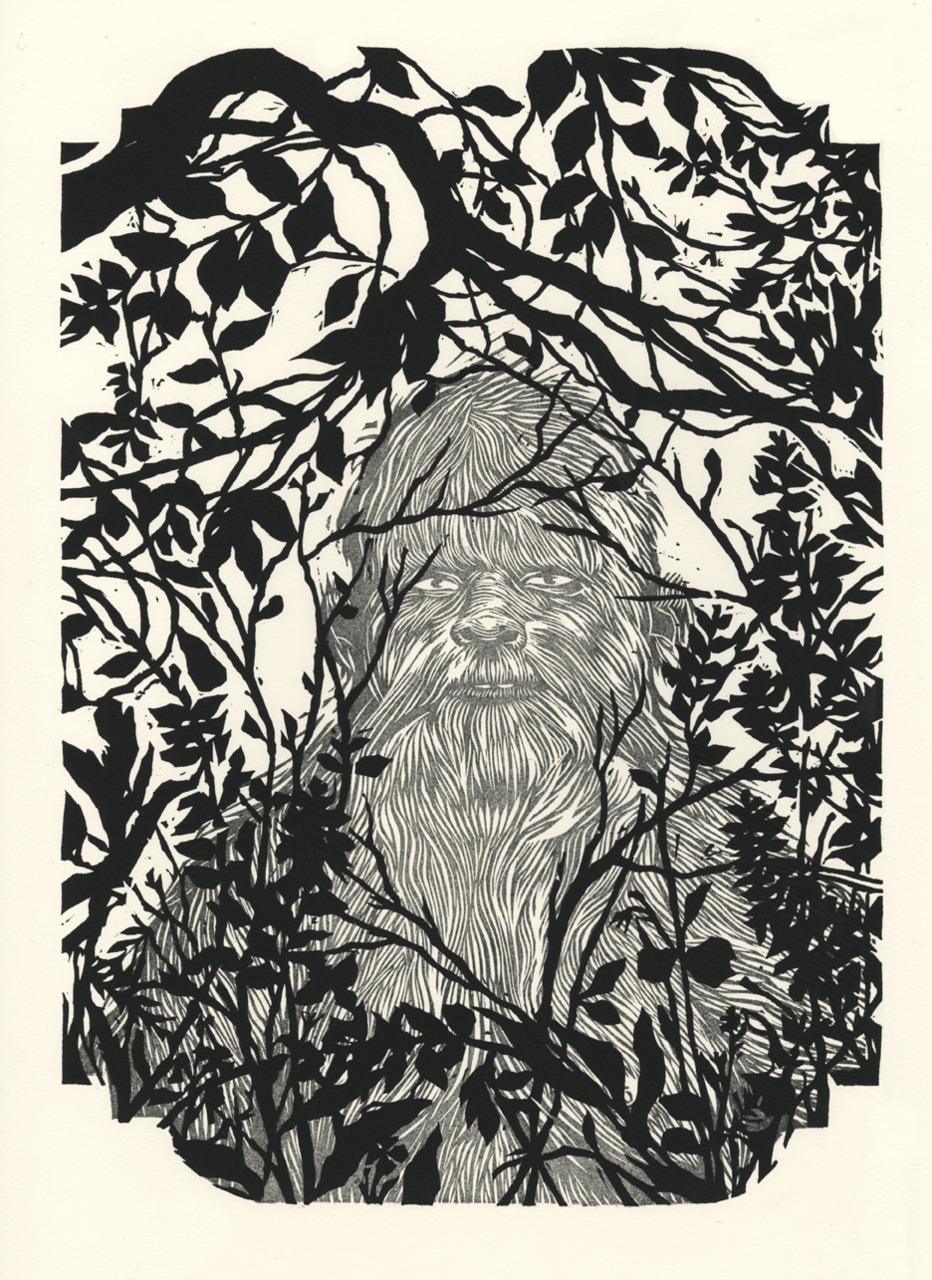 Two block print of Bigfoot in natural habitat.