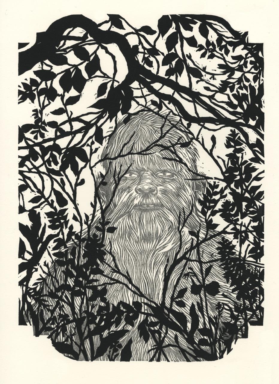 Two block print of Bigfoot in natural habitat.