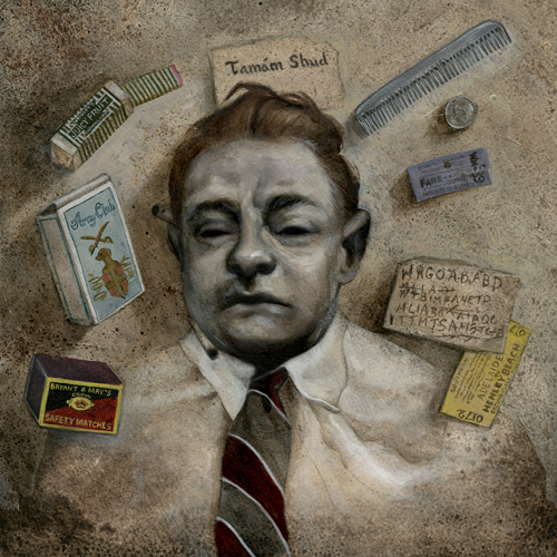 """Taman Shud,"" oil on paper, 2011.  Album cover for an upcoming  Awkwardcore Records  compilation album.    On December 1st, 1948, the body of an unidentified man was found on Somerton Beach in Adelaide, Australia."