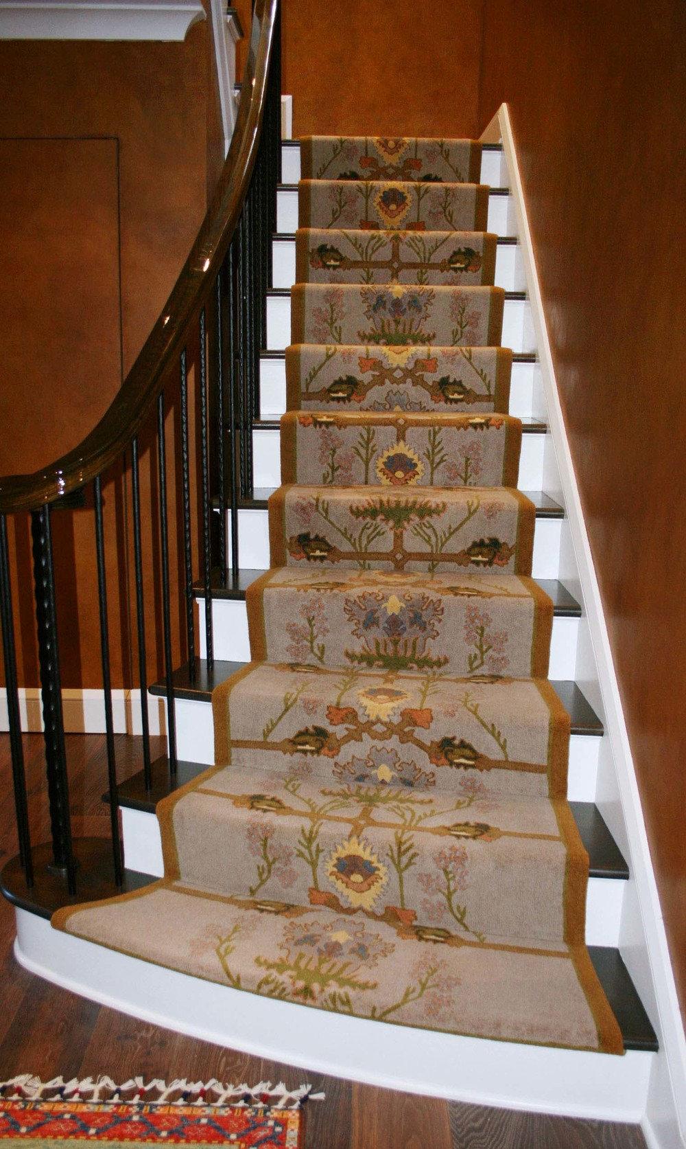 Beautiful custom designed and custom installed designer wool stair runner