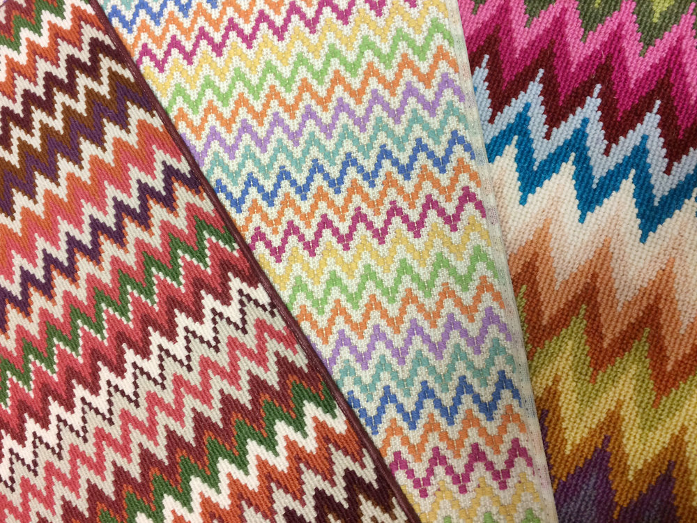 Fun zigzag carpet samples