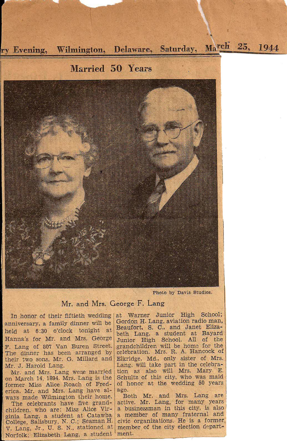 George F. Lang and his wife of 50 years.