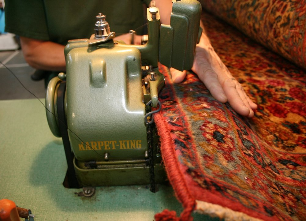 Serging the side of a Karastan oriental rug