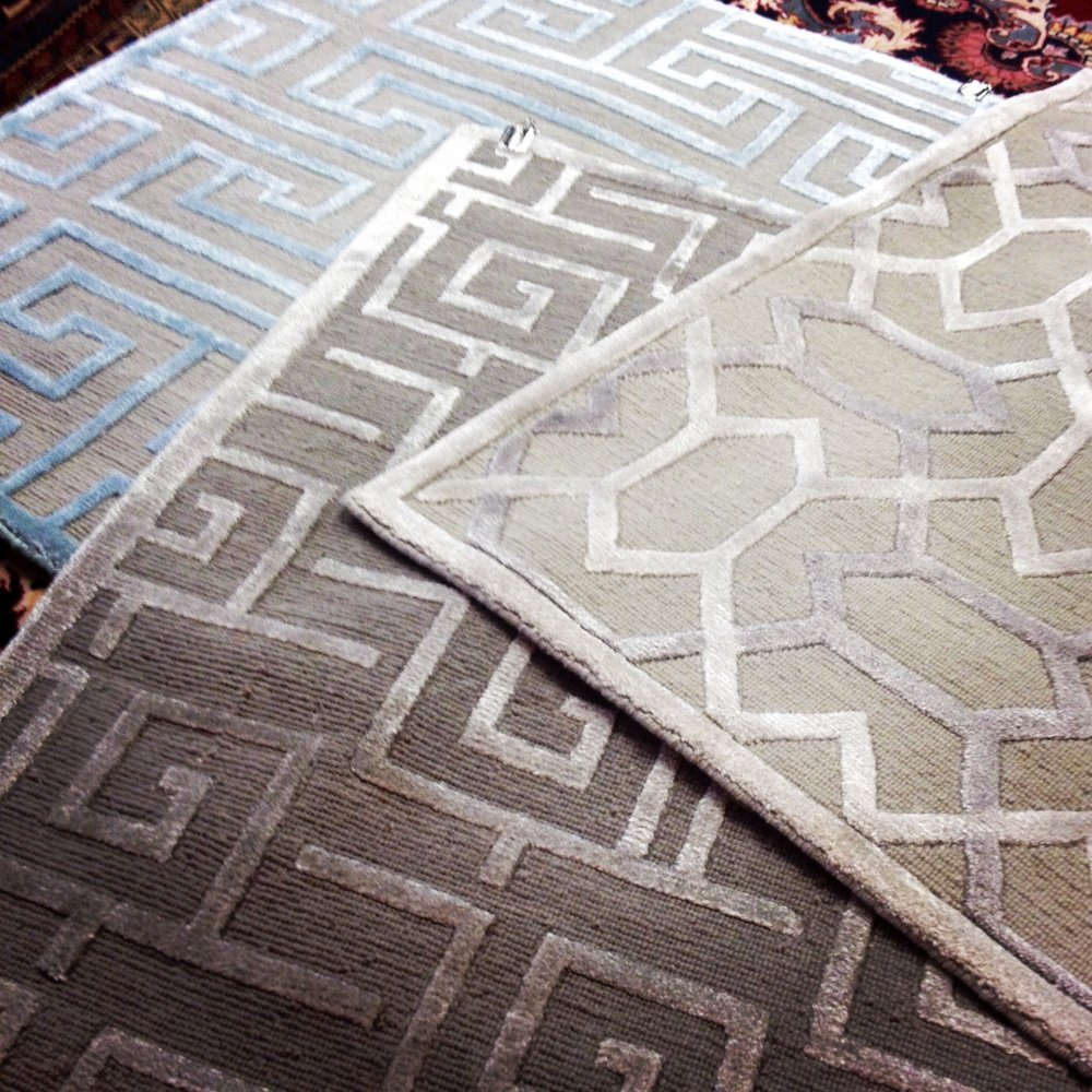 Geometric patterned silk and wool rug samples