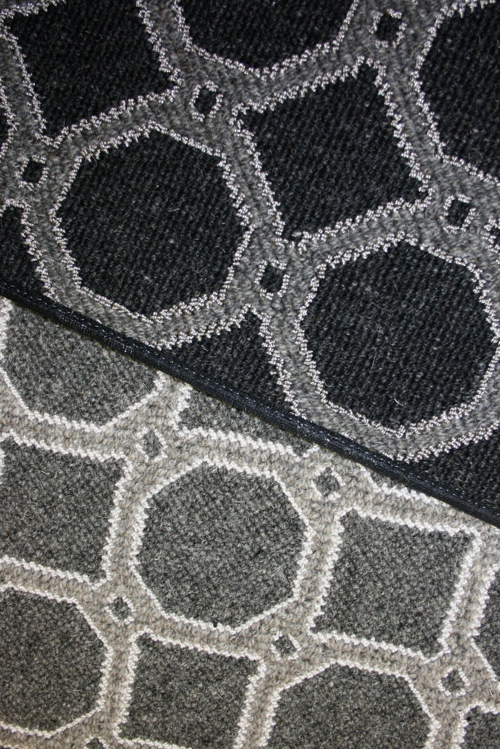 Gray and silver geometric circle carpet