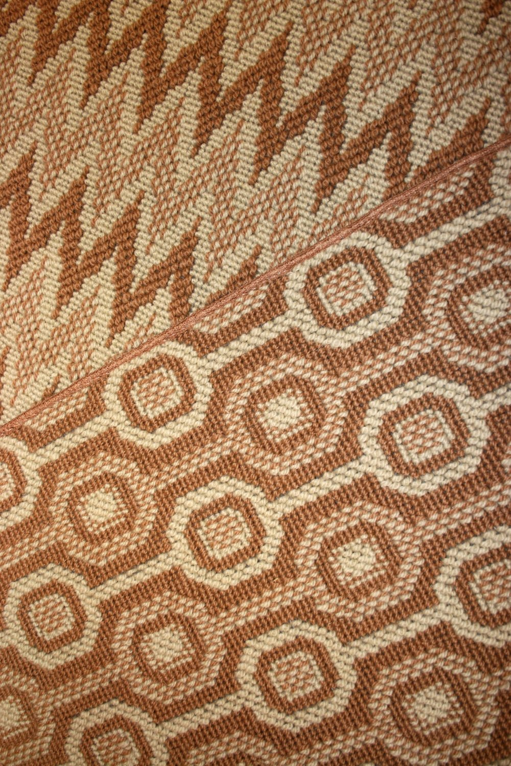 Orange and neutral geometric wool carpet