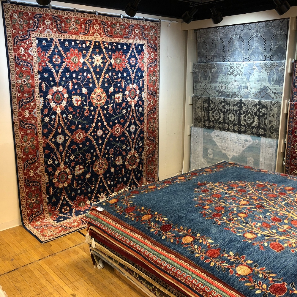 Oriental rugs on display in our expansive showroom.