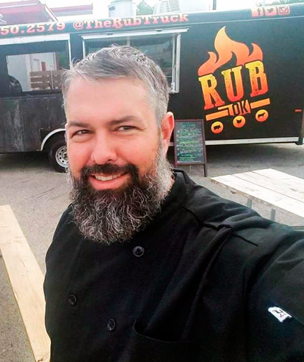 Joel Bein Oklahoma Rub Food Truck - Chef Joel is the Owner and cook of a local Oklahoma Food Truck that specializes in smoked meat fusion and BBQ. Find them at Tulsa festivals and events serving up some of their famous various BBQ tacos.