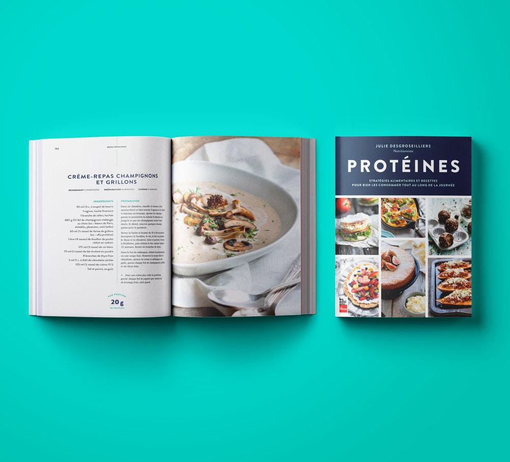 Photos tirées du livre  PROTÉINES – Stratégies alimentaires et recettes pour bien les consommer tout au long de la journée . On peut y apercevoir que l'auteure a camouflé de la farine de grillon dans cette crème de champignon. Oseriez-vous y goûter?