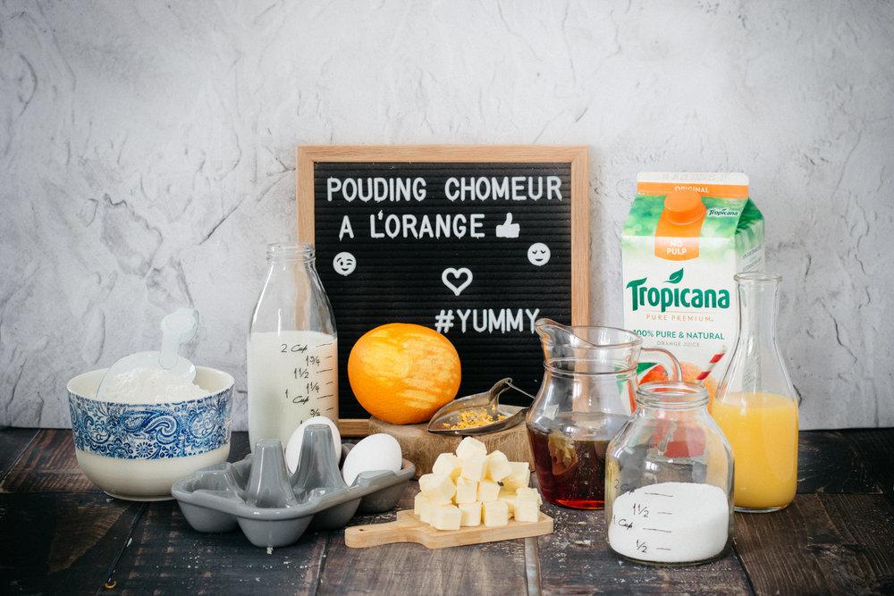 Ingrédients - Pouding chômeur à l'orange Photographie et stylisme culinaire : Hubert Cormier