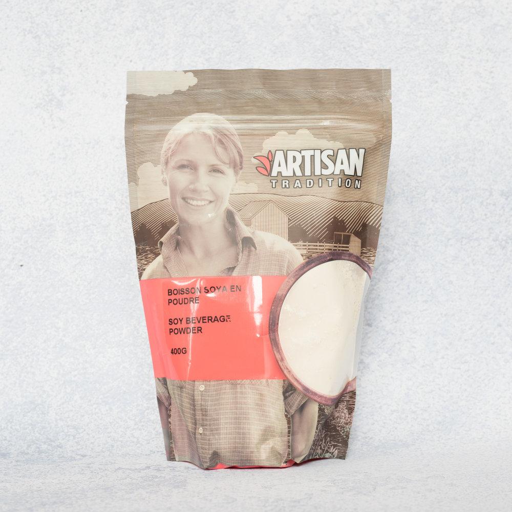 Boisson de soya en poudre - Artisan Tradition - Pour amplifier la teneur en protéine de vos smoothies, muffins déjeuners, galettes maisons simplement pour vous préparer de la boisson de soya à partir de la poudre, cet ingrédient aux multiples atouts a maintenant sa place dans ma cuisine!