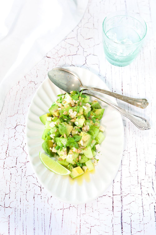 Salade de melon de miel et d'avocat Photographie et stylisme culinaire : Hubert Cormier
