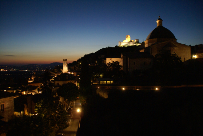 ★★★ An evening view of Assisi from the hotel